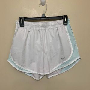 White and baby blue Nike Tempo Running Shorts